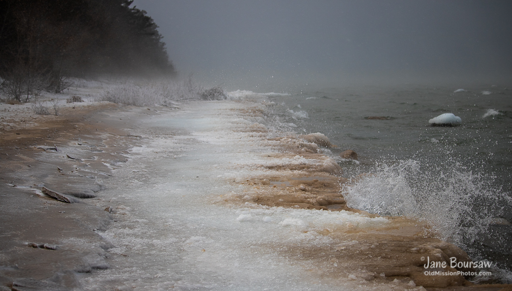 Winter at Mission Point Lighthouse Beach | Jane Boursaw Photo