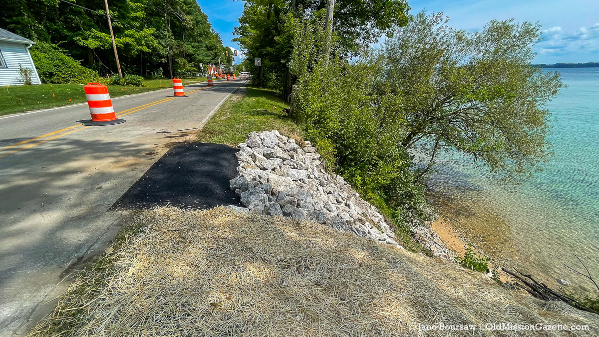 Road work for erosion on south end of Bluff Road on the Old Mission Peninsula | Jane Boursaw Photo
