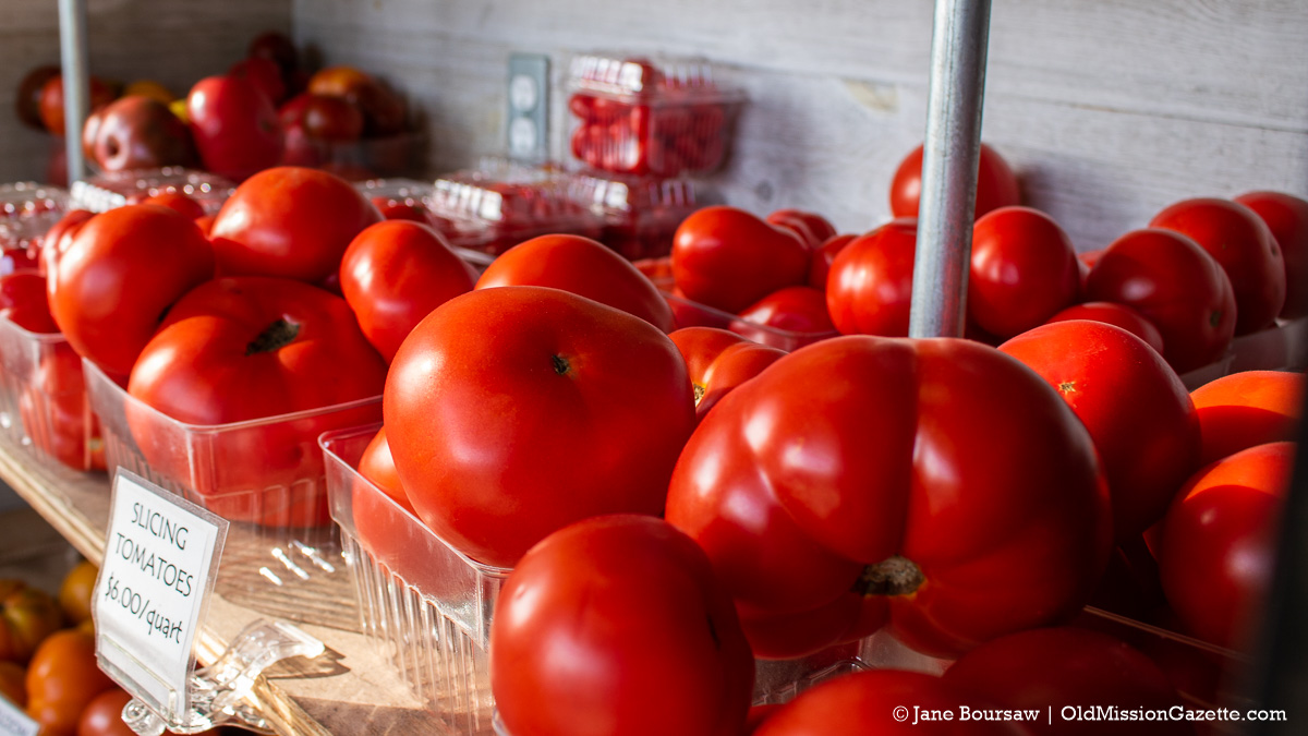 Tomatoes at Local Yokels Farm Stand; Center Road on the Old Mission Peninsula | Jane Boursaw Photo