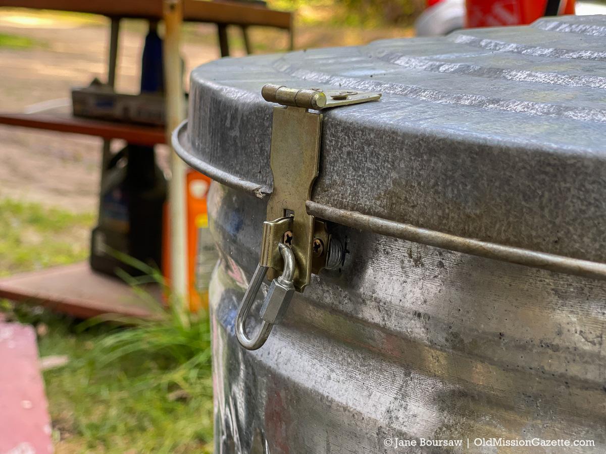 Lock on Jane's Bird Seed Container | Jane Boursaw Photo