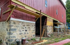 Foundation work on Johnson Barn; Old Mission Peninsula | Jane Boursaw Photo