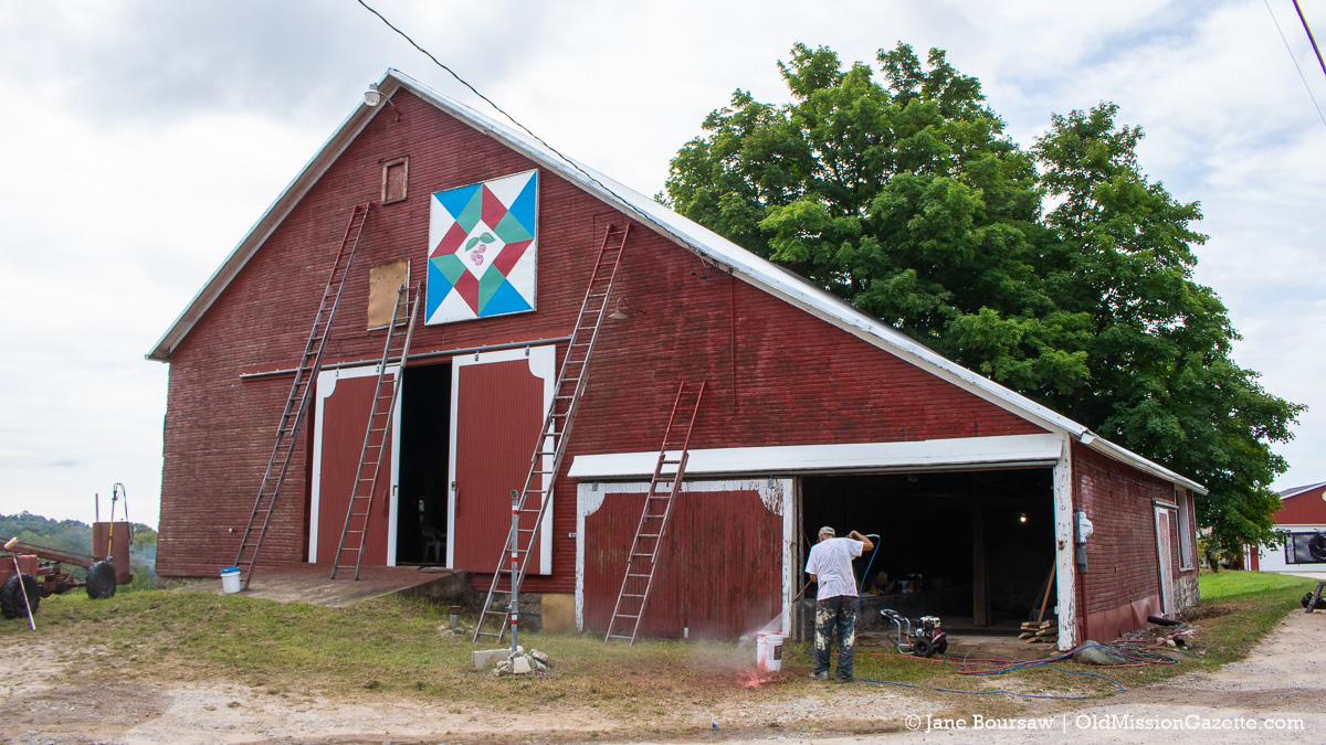 Johnson Barn on Center Road gets power-washed and prepped for painting   Jane Boursaw Photo