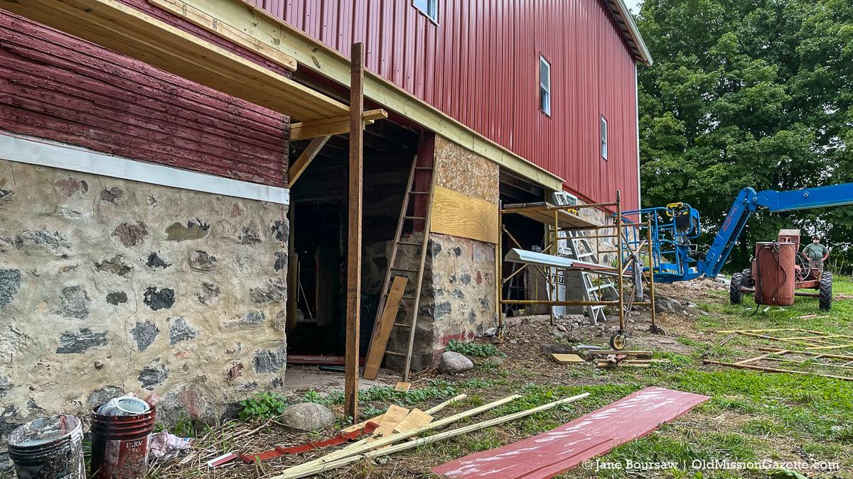 Foundation work on Johnson Barn; Old Mission Peninsula   Jane Boursaw Photo
