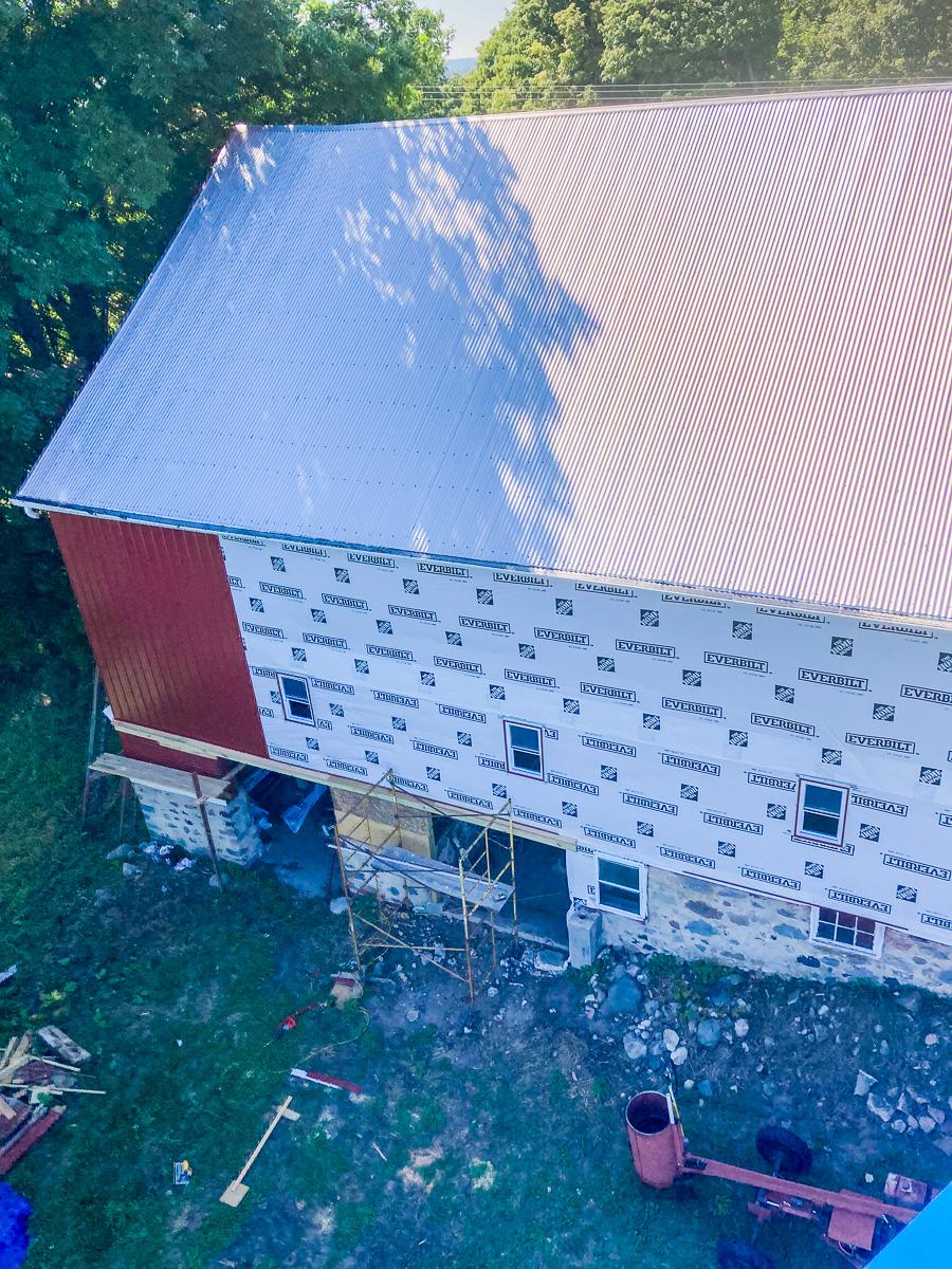 "Siding work on Johnson Farms barn on the Old Mission Peninsula; taken from the ""lift""   Taylor Vanderbush Photo"