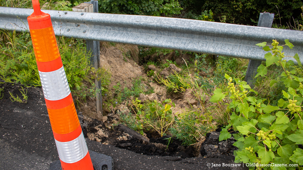 Road Erosion on the south end of Smokey Hollow Road; Old Mission Peninsula | Jane Boursaw Photo