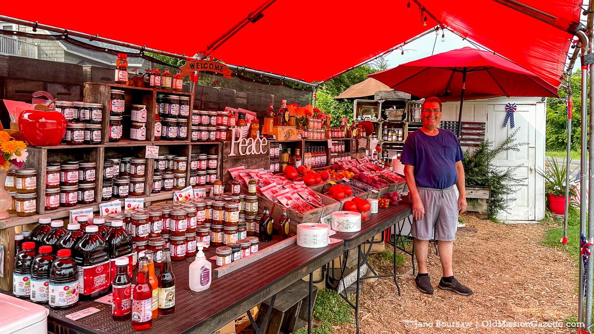 Jim Sullivan at Sullivan's Fruit Stand; Center Road on the Old Mission Peninsula | Jane Boursaw Photo