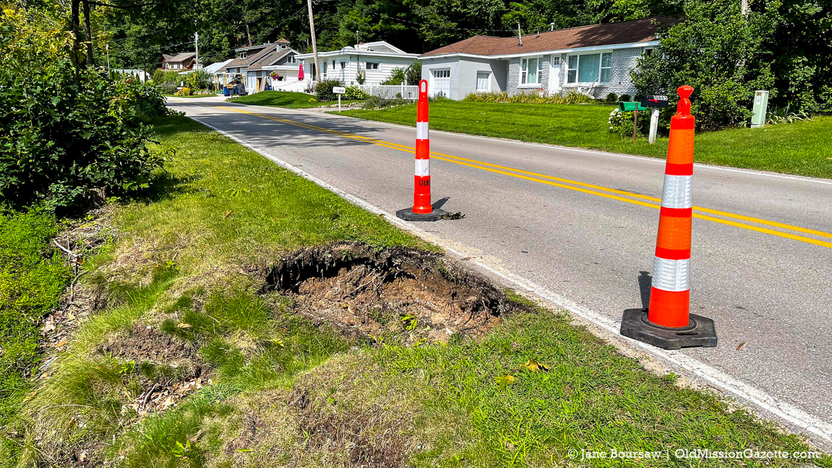 Erosion on south end of Bluff Road on the Old Mission Peninsula | Jane Boursaw Photo