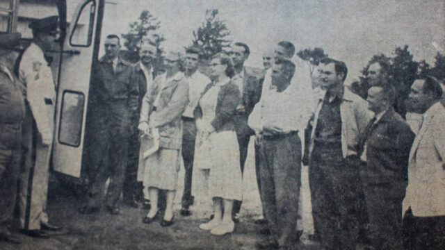 Ed Brown goes to Bus Driver School, 1957, Traverse City, Michigan   Traverse City Record-Eagle; Old Mission Gazette Photo
