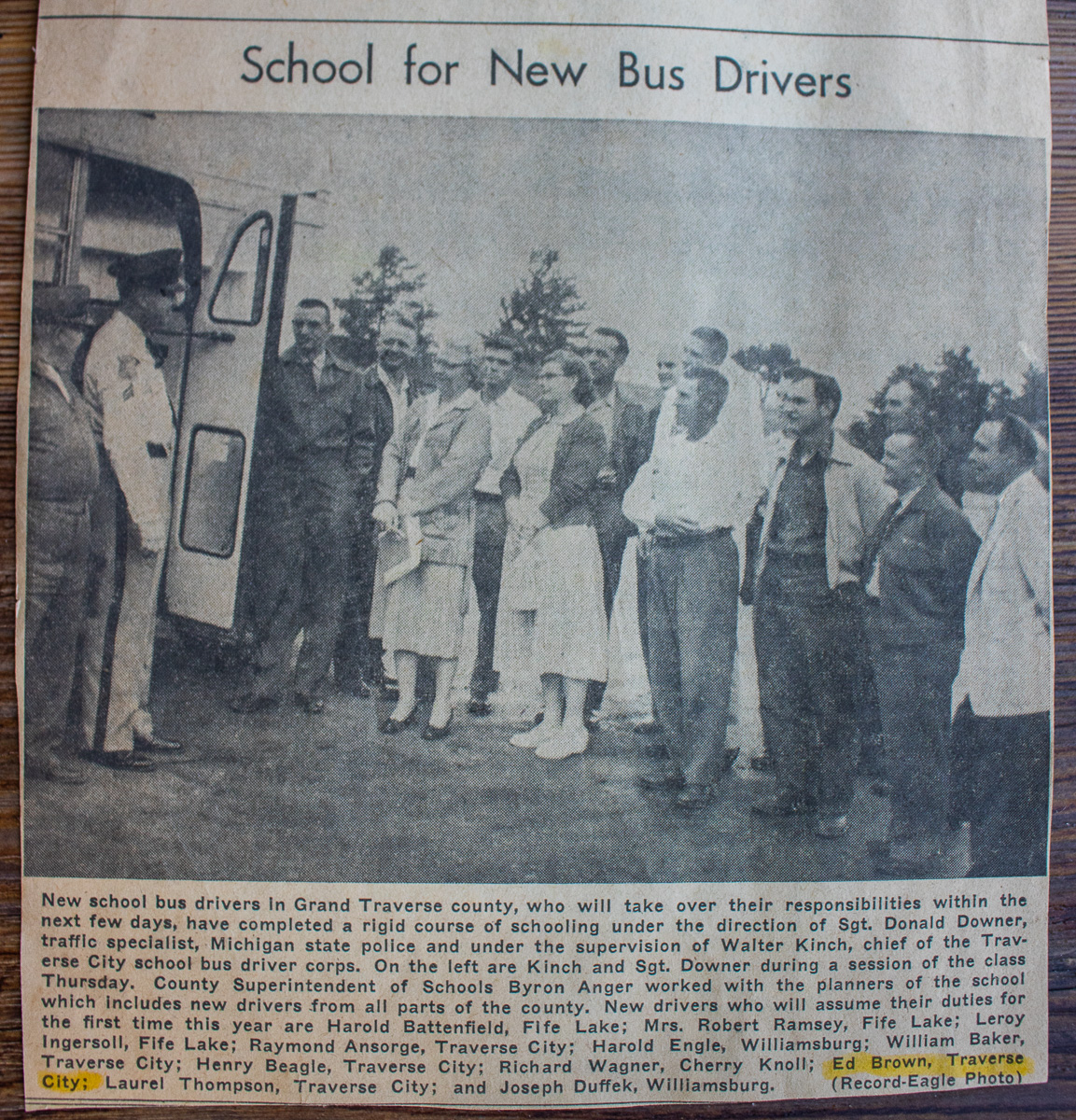 Ed Brown goes to bus driving school, 1957, Traverse City, Michigan   Traverse City Record-Eagle; Old Mission Gazette Photo